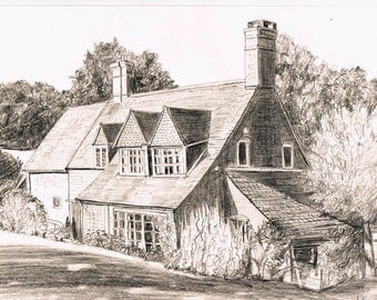 house portrait in pencil