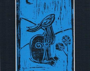 hare lino cut stylised