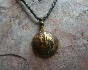 Etched Brass Giraffe Necklace