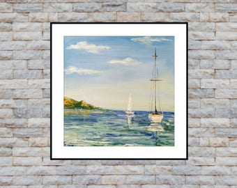 Boats and Sea Marine Landscape limited edition small Art print from Original oil painting