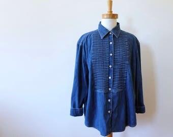 denim shirt with lapel details