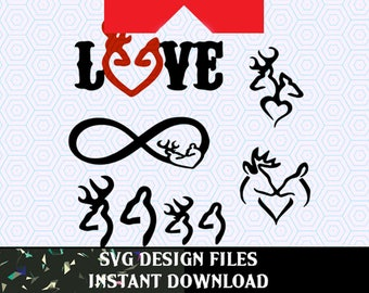 Deer SVG, Deer Antler Family Instant Download for Silhouette Cameo or Cricut Design Space, antler logo, hunting, stag vectors