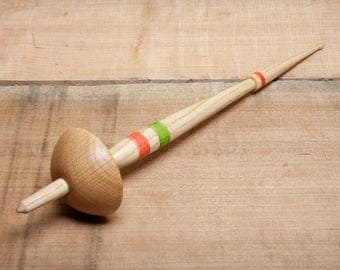 Bulgarian Spindle | Baltic Style Low Whorl Spindle | Removable Whorl | Bottom Whorl Spindle | Hand Turned | Ash & Oak