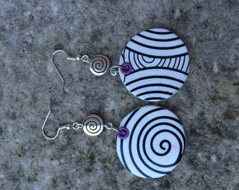black and white polymer earrings