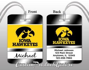 College Luggage Tag, Iowa Hawkeyes, Personalized Luggage Tag, Suitcase Bag Tag, Fun Luggage Tag
