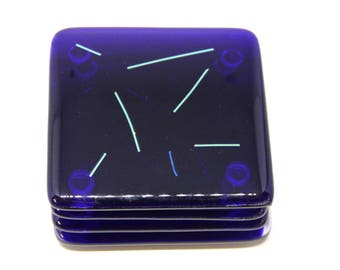 Navy Blue and Dichroic Fused Glass Coasters Set of 4