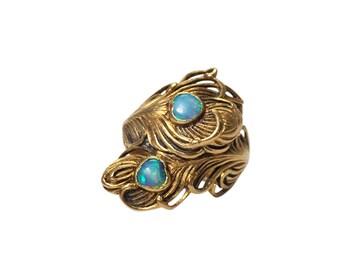 Art Nouveau 18k Yellow Gold Opal Ring