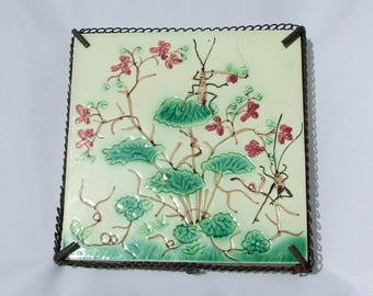 Antique French Aesthetic Art Nouveau Majolica Pottery Tile Trivet - Circa 1880's Crickets Pipe Smoking & Dancing French Wire Work