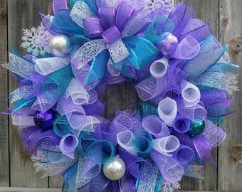 Purple Christmas wreath, teal Christmas wreath, purple and teal Christmas wreath, elegant Christmas wreath, Christmas wreath