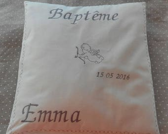 custom with pattern choice writing embroidered christening cushion