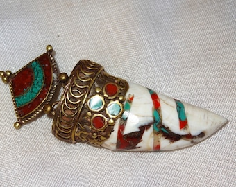 Nepalese conch pendant coral - 1 Black Suede strap available