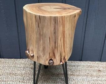 Cedar Stump Side Table with Hairpin Legs