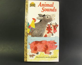 Animal Sounds Board Book, Preschool Book, Picture, Vintage Golden Books 1981, Birthday Gift, Baby Shower