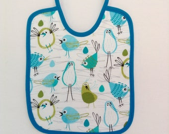 Bib, cotton and sponge, birds, blue and white