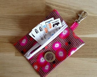 Mini pouch/coin, poppy - pink and white door
