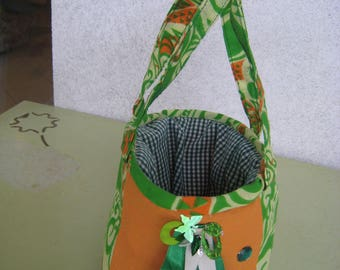 Sac pochon en coton matelassé, avec anses, vert et orange
