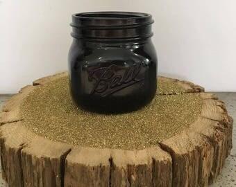 Black glossy mason jar