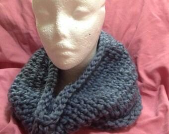 Light Blue Knit Chunky Dropstitch Cowl - Winter Scarf