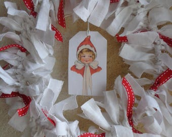 Wreath ornament fabric antique white and Red Ribbon