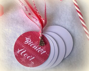 """Pocket notebook with round """"Thank you for Christmas"""" style knit + charm + gift bag"""