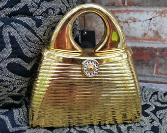 Gold Minaudiere with Crystal Clasp * Shoulder Chain