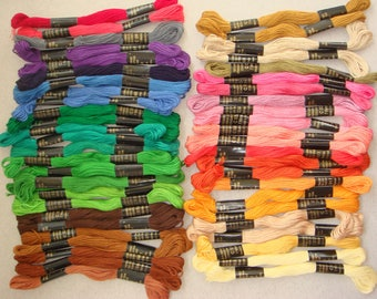 Vintage 50 x Embroidery Threads 32 Mixed Colours Cotton