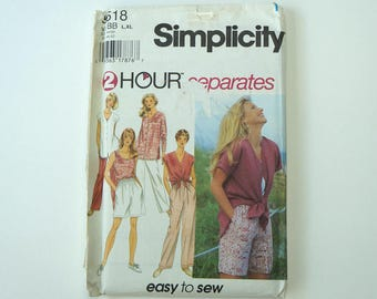 Uncut Simplicity 9518 Paper Sewing Pattern Misses' Separates Pants And Tops Size L, XL