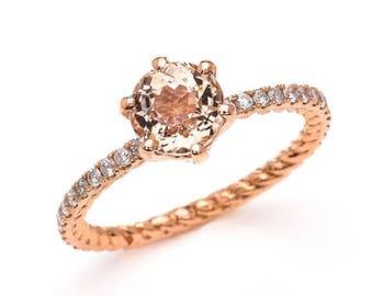 Morganite / Engagement / 14k / Round/ Rose Gold / 6.5mm / Peach / Ring