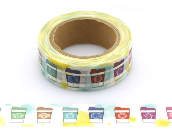 Coffee Cup washi tape - Washi Tape - Coffee Washi Tape - Paper Tape - Planner Washi Tape - Washi - Decorative Tape - Deco Tape - Coffee Wash