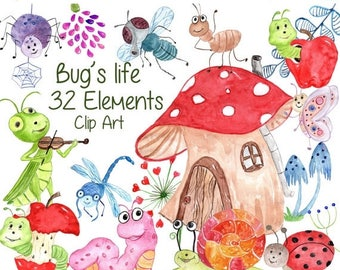 """SALE30% Cute Bugs Clipart:""""BUGS CLIPART"""" Watercolor bugs Happy bugs Insects Clipart Ladybug Snail Dragonfly Fly Caterpillar Spider kids clip"""
