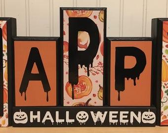 Happy Halloween wooden blocks decor