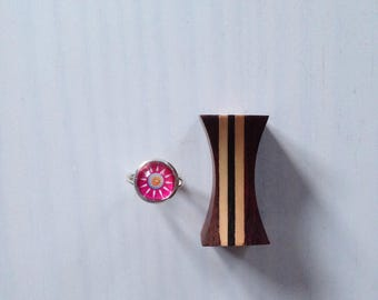 """Ring cabochon 12mm glass """"pink Daisy"""""""