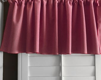 Micro Gingham Checker Plaid Window Valance 58 Inch Wide for Kitchen or Bedroom Windows Red