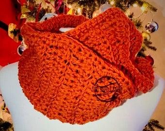 Infinity scarf / Winter infinity scarf/ Merino infinity scarf / Full look scarf / Winter made scarf / Orange infantry scarf/