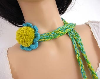 Belt, necklace, headband, scarf - turquoise green blue vine anise, crochet, the laughter of the Rainbow flower