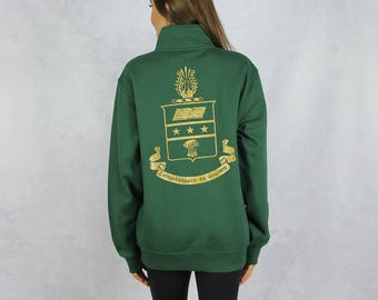 Alpha Chi Omega Quarter Zip Sweatshirt in Hunter