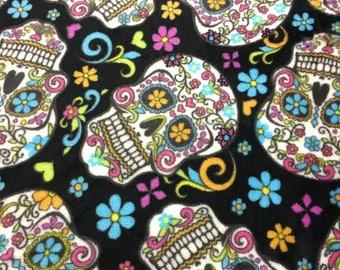 "1/2 yard sugar skulls ultra plush fleece fabric, By the Half Yard, 60"" wide, polyester"