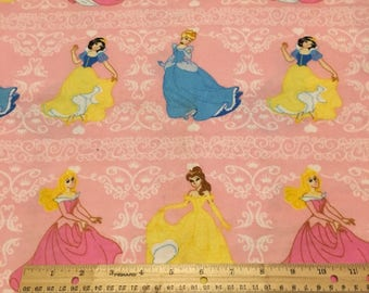 "Disney Princess Stripe on lt pink flannel fabric by Springs Creative, 42"" wide, 100% cotton, by the half yard"