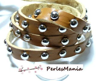 1 m cord genuine leather light brown with 10MM silver metal nail