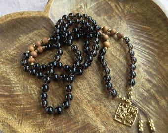 Rooted | 108 Mala Beads | Smokey Quartz  & Sandalwood | Mala Necklace