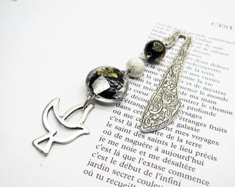 Bookmark jewelry Black beads and swallow brand book, bookmark, women gift, reading accessory