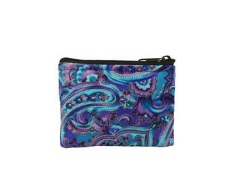 20% OFF SALE Blue and Purple Paisley Coin Bag // Change Purse // Pouch // Wallet