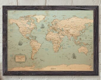 World Map - Rustic Style | Uncustomized | Old Style Wall Map | Map Decor