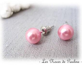 Earrings Pink Pearl Stud pierced earrings