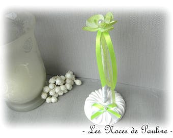 Green and white Orchid wedding pen set