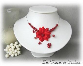 Red flower bridal satin Aude