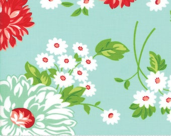 "Moda ""The Good Life"" by Bonnie and Camille ~ SCRUMPTIOUS ~ Aqua 55150 12  ~ Large Floral ~ Half Yard Increments"