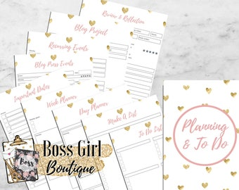 Planning and To Do -  Printable planner inserts - pink and gold planner inserts for bloggers/entrepreneurs - girl boss blog planner