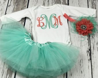 Newborn girl outfit,tutu outfit,baby girl outfit,mint tutu,monogrammed bodysuit,monogrammed baby girl,baby shower gift,coming home outfit