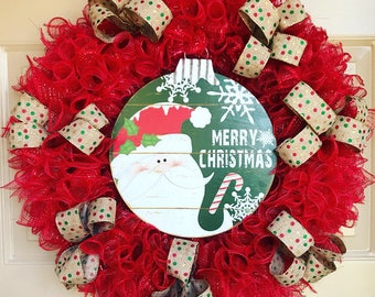 Merry Christmas Wreath, Santa Wreath, Holiday Wreath, Deco Mesh Wreath, Holiday Decor, Outdoor Wreath, Christmas Decor, Front Door Wreath